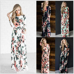 blue floral print evening gown NZ - Women Floral Print Long Sleeve Boho Dress Evening Gown Party Long Maxi Dress Summer Sundress Princess dress