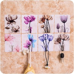 Adhesive sticky glue online shopping - 3Pcs Flower Adhesive Hook Free Punching Non marking Glued Door Sticky Hook Kitchen Bathroom Wall Adhesive Random Colors