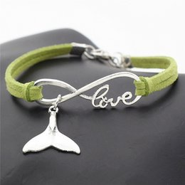 $enCountryForm.capitalKeyWord Australia - Fashion Luxury Handmade Simple Infinity Love Whale Tail Pendant DIY Charm Bracelets Green Leather Suede Rope Women Men Jewelry Gift Pulseira