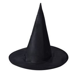 Masquerades Decorations For Party UK - 1PC Halloween Witch Hat Caps Masquerade Party Decoration Adult Womens Black Witch Hat For Halloween Costume Accessory Caps