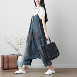 $enCountryForm.capitalKeyWord Australia - Casual Drop Crotch Jumpsuits Women Plus Size Baggy Cross Rompers pants Washed Print denim Overalls Hip-Hop harem jeans YT224 T5190614