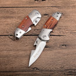 tactical chains Australia - 12Pcs Lot Fengyuan Small Folding Knife 440C Satin Blade Wood Handle EDC Pocket Knives With Bottle Opener And Key Chain