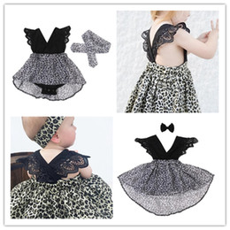 hair sisters NZ - Black Baby Jumpsuit Rompers Kids Skirts Hair band Hairpin 2pcs set Fashion Leopard Print Dress Summer Girls Sisters Clothing Dreses E21902