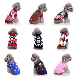 Wholesale christmas t shirts plus size online – design Knitted Pet Doggy Sweater Multi Pattern Short Sleeves Winter Cat Outerwears Pets Dog Cat Christmas Halloween Party Clothes Plus Size mq E1