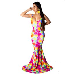 Wholesale sleeveless bodycon bandage trumpet dress resale online – Rainbow Tie Dye Sexy Mermaid Dress Women Spaghetti Strap Backless Long Maxi Dress Summer O Neck Sleeveless Bandage Bodycon Dress