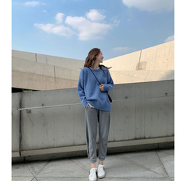 Long Hair Women Australia - Korean Version of The Red Sleeve Long Sleeve Female Incoming Hair Is Not The Same Loose Pure Color Lazy Wind Sweater Woman