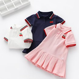 embroidered short white dress UK - Girls Dress Children Baby Polo Skirt Summer New Shirt Pleated Skirt Small Kids Short-sleeved Skirt Tide Girls Fashion Cute Lolita Dress