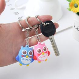 Cartoon 3d Movie Australia - Lovely Soft PVC Owl Key Ring Cute 3D Cartoon Animal Key Holder Fashion Bag Jewelry Accessories Silicone Keychain Blue Pink