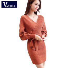 3146ddbdf7b Vangull 2019 Spring New Style Sexy Women s Clothing Knitted Sweater Dresses  Bat Sleeve V-Neck Sashes Solid Slim Mini Dresses
