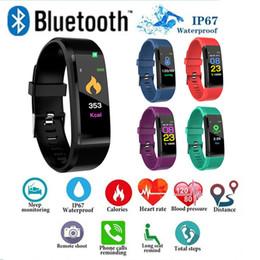 Vente en gros ID115 plus Bracelet Intelligent Fitness Tracker Étape Compteur Moniteur D'activité Moniteur de Fréquence Cardiaque de Fréquence Cardiaque Bracelet pour Iphone Android