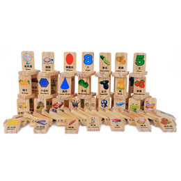 Number Blocks Australia - 100 Pcs Wooden Blocks Domino Game Chinese Characters English Letter Animal Number Cartoon Pattern Learning Cognitive Toys,