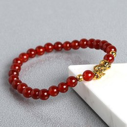 6mm pearls acrylic UK - JD Men Bracelet 6mm Natural Red Black Agate Stone Beads Pixiu Bracelet Charm Lucky Bracelets & Bangles Homme Men Jewelry