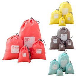 $enCountryForm.capitalKeyWord NZ - 4pcs Travel Cosmetic Bag Oxford Cloth Waterproof Drawstring Pouch Candy Color Wash Bags Make Up Bag Organizer Bag Storage Bags DBC VT0690