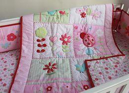 Baby Quilt Embroidery Australia - Promotion 7Pcs Baby bed linens Ladybug blossom Crib bedding set for infant girl Cot bumper set Quilt Bumper Mattress Cover Bed Skirt