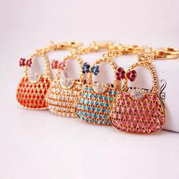 $enCountryForm.capitalKeyWord NZ - Ladies Handbag Shaped Keychain - 4 Colors Crystal Rhinestone Luxury Keychains Sparkling Womens Bag Charm Pendant Car Keyring