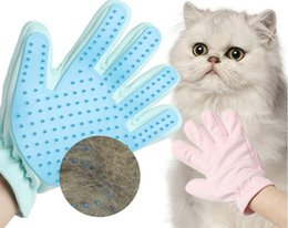 wholesale hair removal products Australia - Pet Grooming Glove Cat Hair Removal Mitts De-Shedding Brush Combs For Cat Dog Horse Massage Combs Suede Back Pet Supplies Cat Accessoies