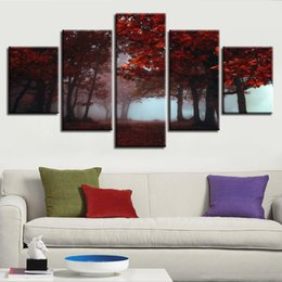 Tree Scenery Paintings UK - Canvas Printed Paintings Modular 5 Pieces Red Forest Maple Leaf Trees Poster Living Room Scenery Pictures Framework Home Decoration