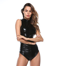 Pvc bodysuit ziPPer online shopping - PU Leather Bodysuit Women With Zippers Sexy Club Sleeveless High Neck Tight PVC Bodysuit Thong Black One piece Pole Dance