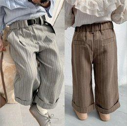 Korea girl legs online shopping - 2019 Korea style girls boys striped wide pants autumn cotton fashion kids pants t HX150