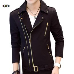 Wholesale korean coats male for sale – winter Idopy Fashion Korean Style Mens Motorcycle Jacket Irregular Zipper Slim Fit Zip Up Lapel Collar Multi Zippers Coat For Male