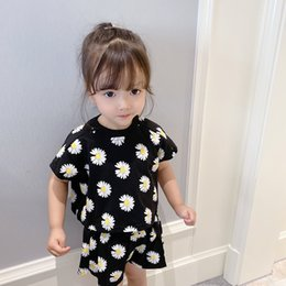 white floral shorts Canada - Summer baby girls floral printed clothes sets short sleeve loose Tee and shorts 2 pcs sets CX200628