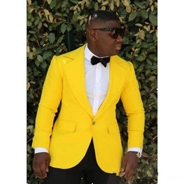 $enCountryForm.capitalKeyWord UK - Yellow Men Wedding Tuxedos Notch Lapel One Button Groom Tuxedos New Style Dress Men Business Dinner Darty Suit(Jacket+Pants+Tie)