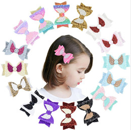$enCountryForm.capitalKeyWord Australia - Cute Angle Wing Hair Clip Sequins Glitter Sparkly Hair Bow for Women Gilrs Hair Accessories PU leather Hairpin Children Kids Barrettes A4806