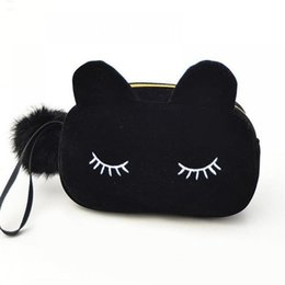 Coin bag korean online shopping - Portable Cartoon Cat Coin Storage Case Travel Makeup Flannel Pouch Cosmetic Bag Cases For Women Girls