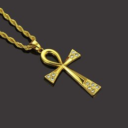 $enCountryForm.capitalKeyWord Australia - Wholesale Fashion Hip Hop Styles Necklaces Gold Silver Crosses Pendant Sweater Chain Women Men Crystal Necklace Jewelry Support Mix