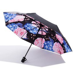 Umbrellas Black Australia - Women 3D Sunny Rainy Umbrellas Creative New Pattern Black Coating Multifunction 3 Folding Umbrellas Girls Cute Umbrellas