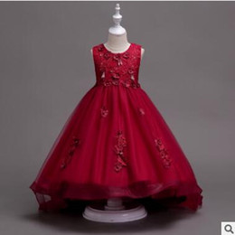 Discount brands tutu for kids - Kids Flower Girls Dress Wedding Lace Flower Embroidered Dress Elegant Princess Party Pageant Formal Gown for Toddler Chi