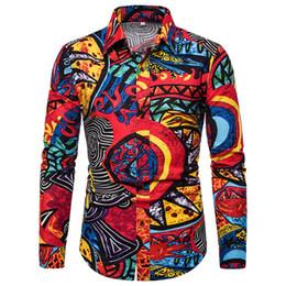 Big Collared Shirts Australia - Linen Shirt Men Long Sleeve 2019 Summer New Floral Clothing Turn-down Collar Tops Gentleman Elegant Dinner Blouse Big Size 5XL