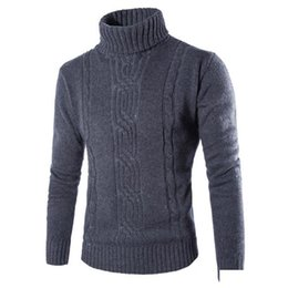 British wool clothing online shopping - 2019 Men s Clothing Mens Turtleneck Male Sweater Pullover Slim Warm Solid High Lapel Jacquard Hedging British