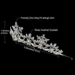 Real Crystal Crowns Tiaras Australia - Fashion Hair Jewelry Real Austrian Crystals Women Princess Snowflake Tiara Crown Bridal Wedding Christmas Hair Jewelry Accessories SHA8756