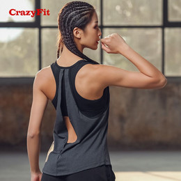 Organic Cotton Yoga Australia - CrazyFit 2018 Yoga Top With Bras Sports Bra Running Gym Tank Women Fitness Workout Female Open Back Tops Clothing Sport Shirt #20731