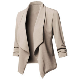$enCountryForm.capitalKeyWord Australia - 2018 Spring Slim Fit Women Formal Jackets Office Work Open Front Notched Ladies Blazer Coat Hot Sale Solid Irreular New