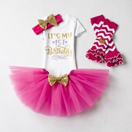 $enCountryForm.capitalKeyWord Australia - Ins Baby girl clothing Infant Birthday Outfits 1st 2nd Birthday party clothes Letters Romper+tutu skirt+Sequins headband+leg warmer 4pcs set