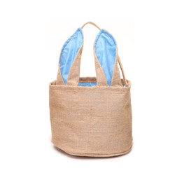 Corduroy Accessories UK - DIY Easter Baskets Burlap Barrel Shaped Cylindric Rabbit Bags Bunny Storage Bag Jute Rabbit Ears Basket Cute Rabbit Ears Handbag Decor New