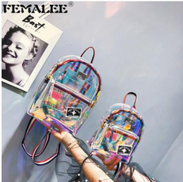 landscape laser NZ - Women Transparent PVC Backpack Knapsack Jelly Travel Backpack Multipurpose Clear Bag Big Small Girl Laser Mochila School Bag