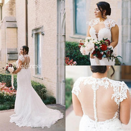 $enCountryForm.capitalKeyWord NZ - Plus Size Mermaid Wedding Dresses See Through Jewel Sweep Train Appliques Garden Country Bridal Gowns robe de mariée 2019 Cheap