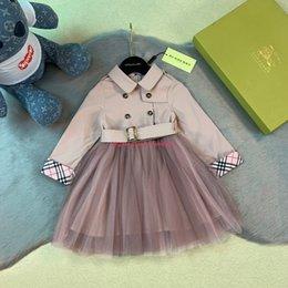 Pink stitch dresses online shopping - Girls dress kids designer clothing autumn new windbreaker stitching mesh dress waist design khaki pink two