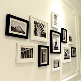 Discount photo frames sets - 11 pcs Black & White Scenery Wall Hanging Photo Frames Set Picture Frame For Hallway Bedroom Living Room Home Decoration