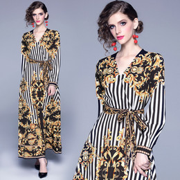 long sleeve robes womens NZ - New 2019 Palace Retro Baroque Print Casual Womens Ladies Luxury V-Neck Long Sleeve Bowknot Sashes A-Line Party Robe Maxi Dresses Vestidos