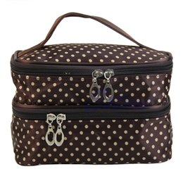 layer cosmetic bags NZ - Women Travel Cosmetic Polka Dots Makeup Double Layer Case Pouch Organizer Bag DXAE