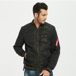 black fashion uniforms NZ - Men Round Neck Jacket Winter Warm Cotton Clothing Coat Flying Jacket Military Air Force Embroidery Baseball Uniform Army Green Black