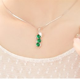 natural agate gemstone pendants Australia - Natural Green Chalcedony Pendants 925 Silver Necklace Agate Jade Peridot Bizuteria for Women Bijoux or Gemstone Pendants Jewelry