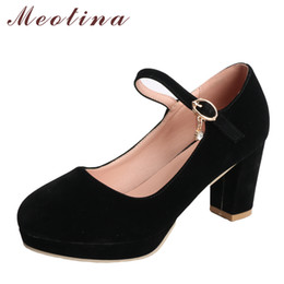 high heeled mary jane shoes UK - Meotina Women Pumps Platform High Heels Mary Jane Shoes Crystal Buckle Ladies Party Shoes Thick Heel Female Shoes Black Size 43 Y200702