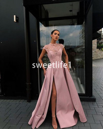 blush lace evening dresses Australia - 2019 Blush Pink Short Sleeve Evening Dresses Lace Appliques A Line Satin Side Split Formal Occasion Prom Party Gown Custom Made
