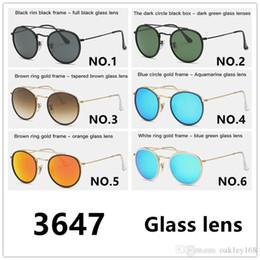 Sun Glasses Double Lens Australia - Top Quality Occhiali Da Sole Round Metal Sunglasses Double Bridge Glass Lenses Designer Sun Glasses