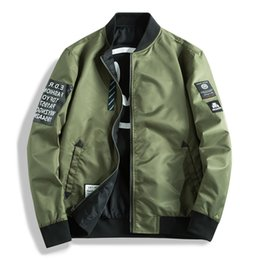 Wholesale green silk jacket for sale - Group buy Men s Jackets Both Side Wear Coat Men Pilot With Patches Green Black blue Autumn Hip Hop Streetwear Windbreaker Clothing GA462 Double sided